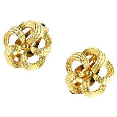 Bow Knot Textured Goldtone Vintage Earrings