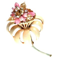 Florenza Pink Peach Enameled Hand Beaded Flower Vintage Brooch