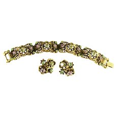 Vintage Florenza Shades of Amethyst Peridot Jonquil Rhinestone Bracelet and Earrings