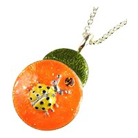 Bright and Fun Orange, Green, Yellow and Black Enameled Ladybug Pendant Necklace
