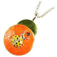 Bright and Fun Orange, Green, Yellow and Black Enameled Ladybug Pendant Necklace