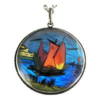 Art Nouveau Style Butterfly Wing Sailing Ship English Sterling Silver Pendant