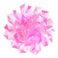 Pink Fanned Plastic Multilayered Flower Brooch