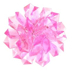 Pink Fanned Plastic Multilayered Flower Brooch