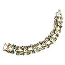 Florenza White Enameled White Cabochon Marquis AB Blue Rhinestone Vintage Bracelet