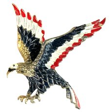 Majestic Red White Blue Enameled Eagle Vintage Brooch