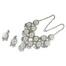 Light Blue Opalesque Rhinestone White Enamel Flower Vintage Necklace and Earrings