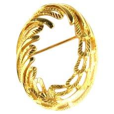 Trifari Oval Wheat Textured Goldtone Vintage Pin