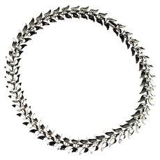 Vintage Trifari Silvertone Leaf Design Necklace