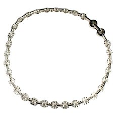 Vintage Silvertone Oval Textured Links Choker Necklace