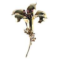 Jolle Vintage Sterling Vermeil Purple Rhinestones Lily Flower Huge Designer Brooch