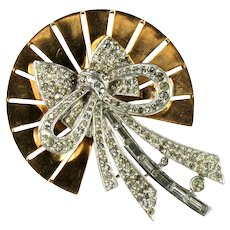 Pennino Vintage Sun Rays Crystal Rhinestone Bow and Ribbon Brooch