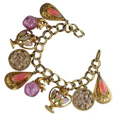 Florenza Pastel Pinks and Lilac Colors Cabochon Pebble Vintage Charm Bracelet
