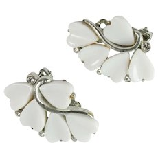 Vintage Lisner White Plastic Heart Earrings