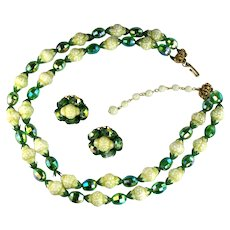 Hobe Iridescent Green and Cream Faceted Bead Vintage Necklace and Earrings