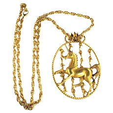 Vintage Florenza Huge Unicorn Pendant Necklace