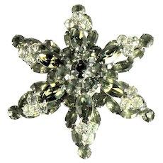 Shades of Black Diamond Gray and Crystal Rhinestone Star Vintage Brooch