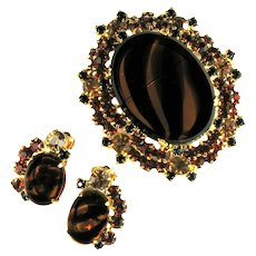 Vintage DeLizza and Elster Juliana Shades of Topaz Tortoise Black Rhinestone Brooch and Earrings