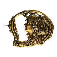 Lady in Profile Gibson Girl Flower Flowing Hair Feather Brooch
