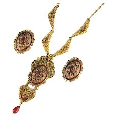 Vintage Renaissance Revival Red Cabochon Enamel Necklace and Earrings