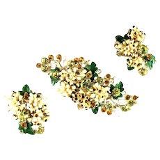 Vintage Florenza Flowers Grape Leaves Topaz Colored Rhinestones Brooch and Earrings