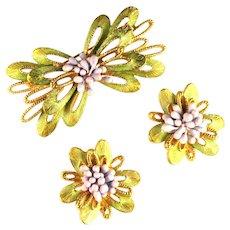 Florenza Goldtone Green Enameled Ribbons Pink Purple Buds Vintage Brooch and Earrings