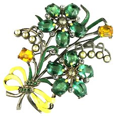 Huge Green Yellow Glass Stones Imitation Pearls Enameled Flowers Bow Brooch