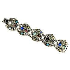 Vintage Colorful Cabochons Rhinestone Asian Theme Bracelet