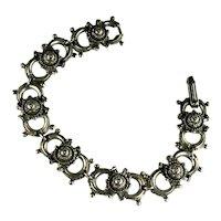 Vintage Silvertone Florenza Gothic Design Bracelet
