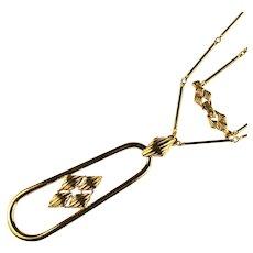 Vintage Monet Goldtone Diamond Shapes Long Modernist Pendant Necklace