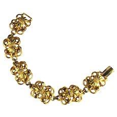 Goldtone Vintage Florenza Flower Motif Bracelet