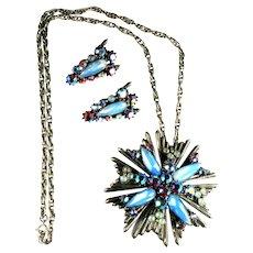 Florenza Pale Blue Opalesque Aurora Borealis Chaton Rhinestones Vintage  Pendant Necklace and Earrings