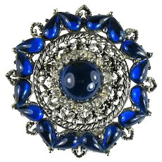 Deep Vibrant Blue Domed Cabochon Pear Round Vintage Brooch
