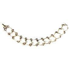 Trifari Fashion Blossoms White Molded Milkglass Leaves Vintage Bracelet