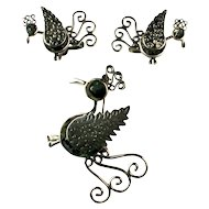 Mexican Sterling Silver Mother of Pearl Quetzal Bird Garcia Brooch and Earrings