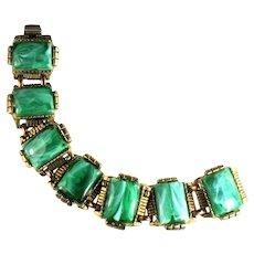 Emerald Green Colored Cabochon Goldtone Vintage Bracelet