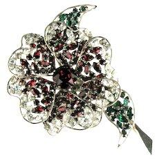 French Designer Red Green Crystal Rhinestones Huge Flower Vintage Clip