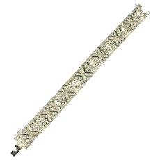 Ciner Crystal Marquis Chaton Pave Rhinestone Art Deco Vintage Bracelet
