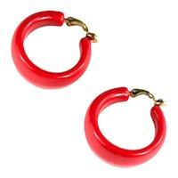 Trifari Vintage Red Large Hoop Earrings