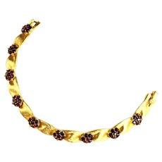 Trifari Red Rhinestone Flower Textured Ribbon Vintage Bracelet