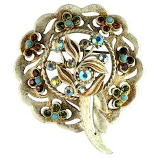 Florenza Vintage Colorful Rhinestone Imitation Turquoise Flower Vine Wreath Brooch