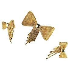 Vintage Lorraine Marsel Mesh Tassel Bow Brooch and Earrings