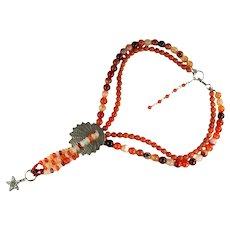 Natural Moukaite Jasper Carnelian Stone Bead Silver Shell Designer Artisan Handmade Necklace