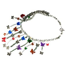 Butterfly Motif Quartz Tree Agate Bead Colorful Handmade Artisan Asymmetrical Necklace
