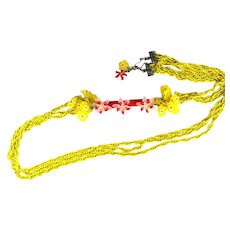 Artisan Handmade Yellow Chain Red Peyote Tube Vintage Flowers Long Necklace