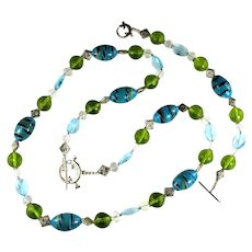 Handmade Artisan Shades of Aqua Olive Green Pale Blue Ceramic and Glass Bead Lizard Motif Necklace and Bracelet