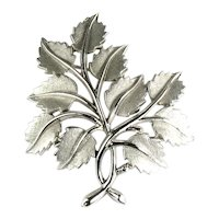 Trifari Vintage Brushed Silvertone Leaves and Branches Brooch