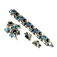 Florenza Black Lava Blue Iridescent Imitation Pearl Art Glass Bracelet, Brooch and Earrings Vintage Parure