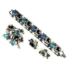 Florenza Black Lava Blue Iridescent Imitation Pearl Art Glass Bracelet, Brooch and Earrings Vintage Parure