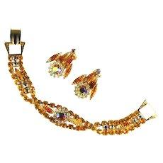 Shades of Topaz Tiger Stripe Rhinestones Flower Motif Bracelet and Earrings